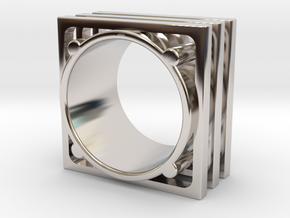 GEOMETRY RING - SIZE 7 in Rhodium Plated Brass