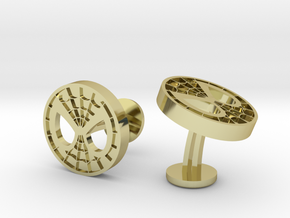 Spiderman Face Cufflinks in 18k Gold Plated Brass