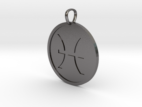 Pisces Medallion in Polished Nickel Steel
