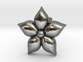 Puffed Flower Earring  in Fine Detail Polished Silver