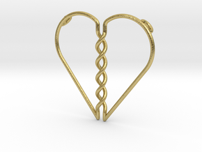 Tangled Heart Pendant (Two Holes) in Natural Brass