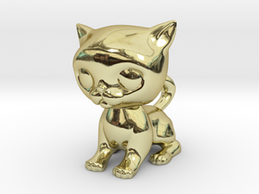 Cute Baby Cat in 18k Gold Plated Brass