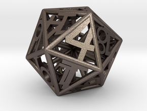 BETA D20 Balanced - Numbers Only, Small (Hearts) in Polished Bronzed-Silver Steel