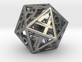 BETA D20 Balanced - Numbers Only, Small (Hearts) in Natural Silver
