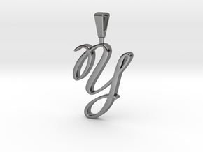INITIAL PENDANT Y in Fine Detail Polished Silver