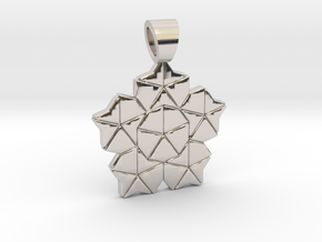 Golden ratio tiling - Lotus [pendant] in Rhodium Plated Brass