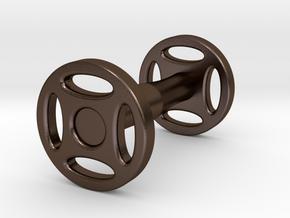 Wheeled Cufflink in Polished Bronze Steel