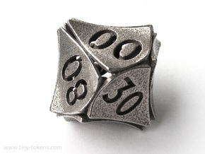 Peel Dice - 10D10 (percentile die) in Polished Bronzed-Silver Steel