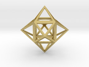 """Stellated Cube (Hexahedron) 1.8"""" in Natural Brass"""