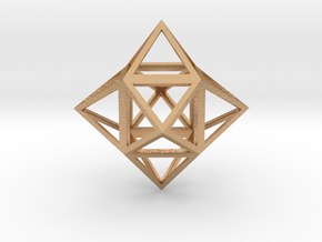 """Stellated Cube (Hexahedron) 1.8"""" in Natural Bronze"""