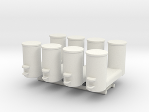 Double Bollards DIN 82607 - 1:50 - 4X in White Natural Versatile Plastic