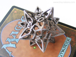 Floral3 Dice - D20 Spindown Life Counter  in Polished Bronzed-Silver Steel