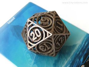 Vertigo Dice - D20 Spindown life counter in Polished Bronzed-Silver Steel