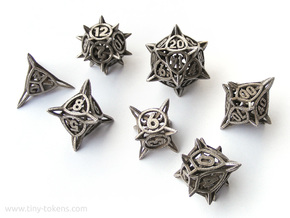 'Center Arc' balanced dice set + 10D10 Decader in Polished Bronzed Silver Steel