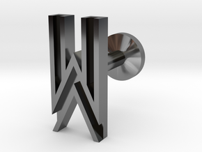 Letter W in Fine Detail Polished Silver