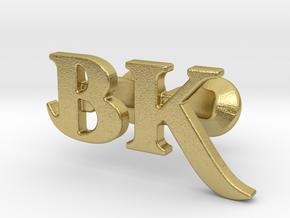 Monogram Cufflinks B & K in Natural Brass