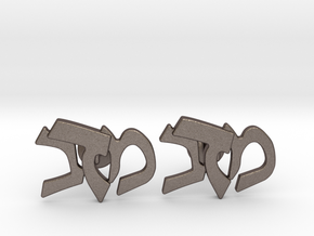 "Hebrew Monogram Cufflinks - ""Mem Bais Daled"" in Polished Bronzed-Silver Steel"