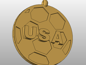 USAsoccer in Polished Bronzed Silver Steel