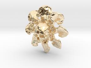 Skull Flower Bone Pendant in 14k Gold Plated Brass