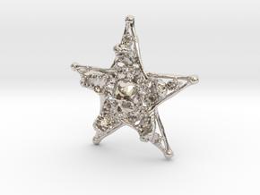 Mystical Pentagram Bone Pendant in Rhodium Plated Brass