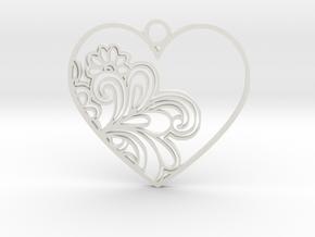 Heart Flower in White Natural Versatile Plastic