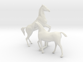 O Scale Horses 4 in White Natural Versatile Plastic