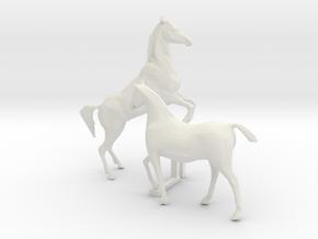 O Scale Horses 4 in White Natural Versatile Plastic