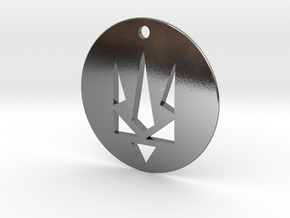 Pendant - Coat of Arms of Ukraine - Stencil - #P9 in Polished Silver