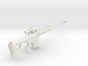 1:6 Miniature Barrett M82A1 Sniper Rifle in White Natural Versatile Plastic