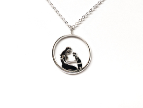 Mother & Son Pendant 2 -Motherhood Collection in Polished Silver