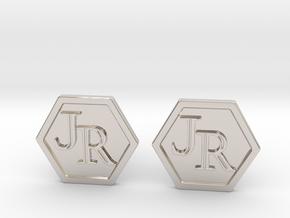 Monogram Cufflinks JR in Platinum