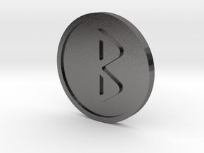 Berkanan Coin  (Elder Futhark) in Polished Nickel Steel