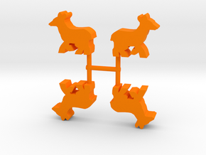 Deer Doe Meeple, running, 4-set in Orange Processed Versatile Plastic