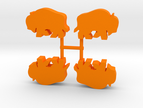 Bison Meeple, running, 4-set in Orange Processed Versatile Plastic