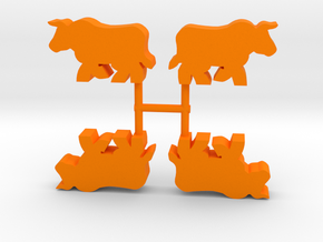 Bull Meeple, running, 4-set in Orange Processed Versatile Plastic