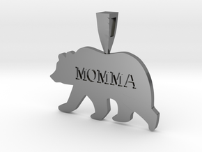 Mama Bear in Fine Detail Polished Silver