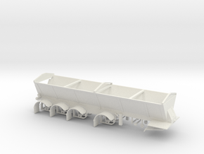 1/64th Live bottom quad axle dump trailer in White Natural Versatile Plastic