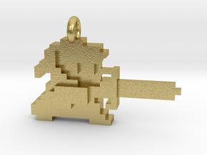 Zelda Link 8 bit Pendant necklace all materials in Natural Brass