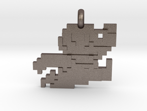 Mario bros 8 bit Pendant necklace all materials in Polished Bronzed-Silver Steel