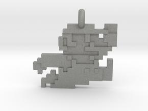 Mario bros 8 bit Pendant necklace all materials in Gray PA12