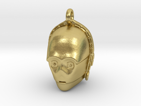 Star wars C3PO Pendant necklace all materials in Natural Brass