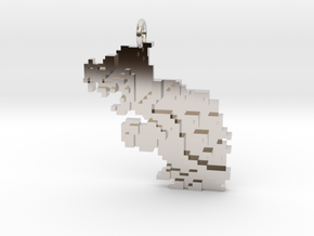 Bowser Koopa 8 bit Pendant necklace all materials in Rhodium Plated Brass
