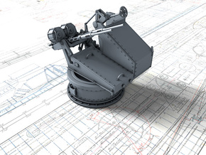 1/48 Twin 20mm Oerlikon Powered MKV Mount 25º in Smooth Fine Detail Plastic