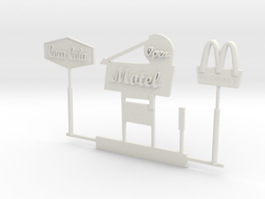 HO Scale Signs in White Natural Versatile Plastic