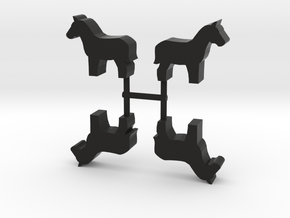 Horse Meeple, standing, 4-set in Black Natural Versatile Plastic