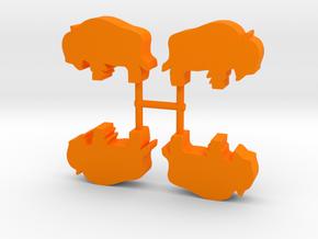 Bison Meeple, standing, 4-set in Orange Processed Versatile Plastic