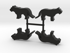 Big Cat Meeple, standing, 4-set in Black Natural Versatile Plastic