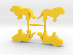 Lion Meeple, standing, 4-set in Yellow Processed Versatile Plastic