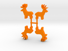 Deer Buck Meeple, standing, 4-set in Orange Processed Versatile Plastic
