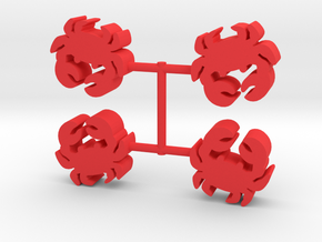 Crab Meeple, 4-set in Red Processed Versatile Plastic